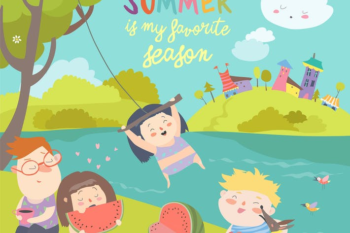Thumbnail for Kids eating watermelon. Summer picnic by the river