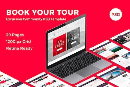 Buchen Sie Ihre Tour - Exkursion Community PSD Vorlage
