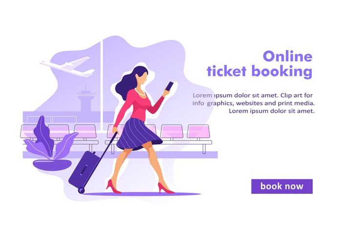 Cover Image For Flight Tickets Online Booking Concept