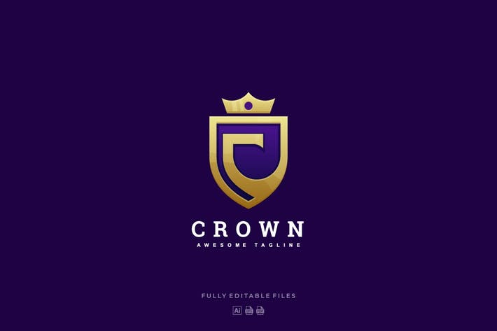 Abstract Letter C and Crown Luxury Logo