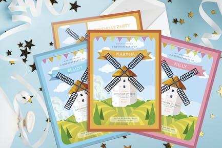 Windmill Tower - Kids Birthday Invitation