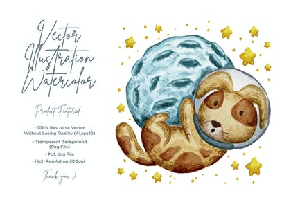 cute animal illustration with watercolor