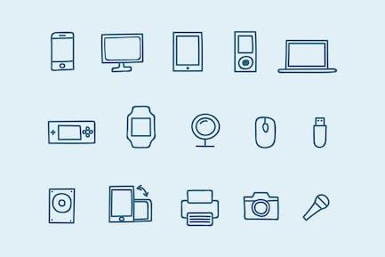 15 Geräte-Doodles