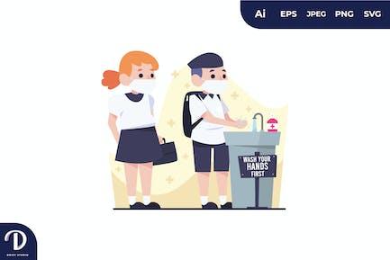 Kids Wash Hands Queue