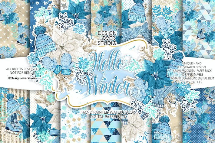 Thumbnail for Hello Winter Digitalpapier Pack