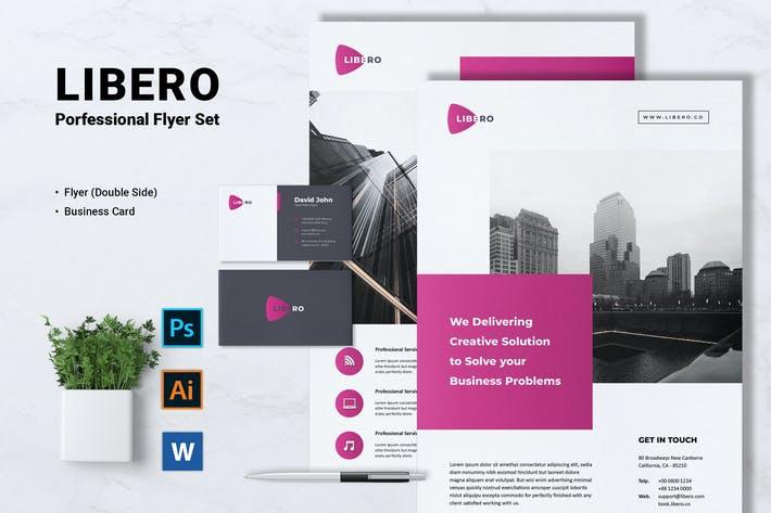 Thumbnail for LIBERO Creative Agency Flyer & Business Card