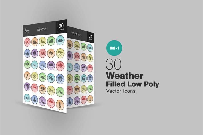 Cover Image For 30 Weather Filled Low Poly Icons