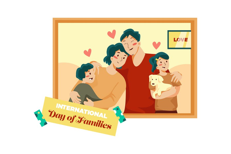 International Day of Families Illustration Concept