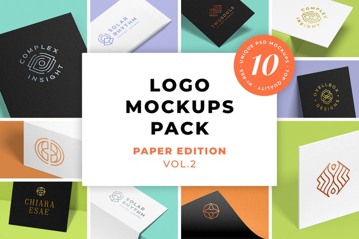 Cover Image For Logo Mockups Pack. Paper Edition. Vol.2