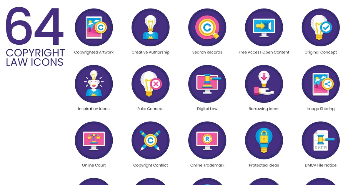 64 Copyright Law Icons - Orchid Series by Krafted