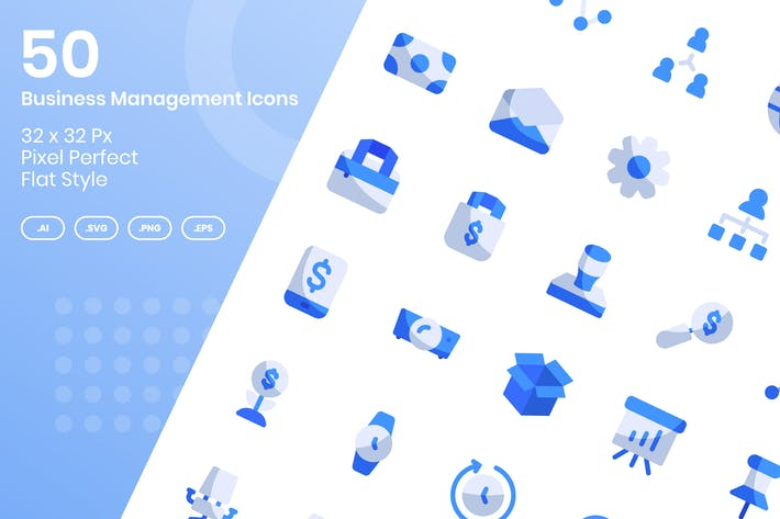 Thumbnail for 50 Business Management Icons Set - Flat
