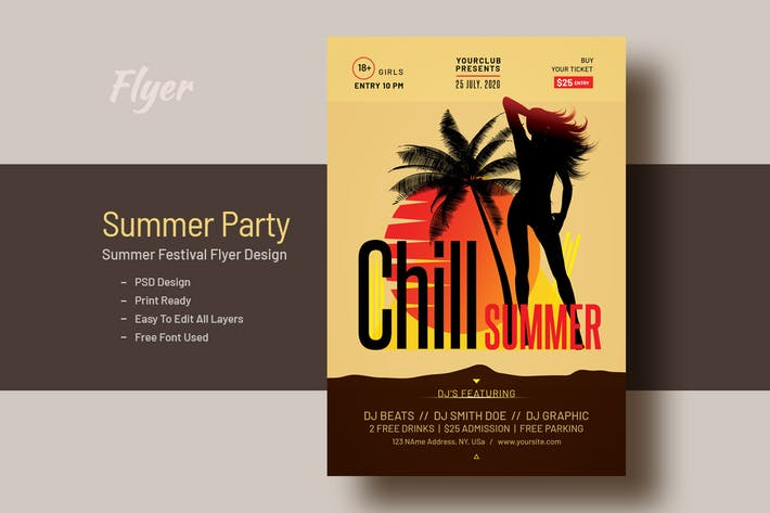 Thumbnail for Summer Party Festival Flyer Template V-15