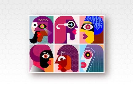 Набор из шести человек Портреты вектор иллюстрация