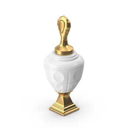 Weiße Keramik-Urne mit goldenem Sockel und Deckel