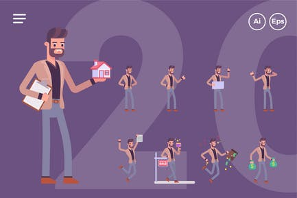 Jeu de personnages de l'agent immobilier masculin (20 poses)