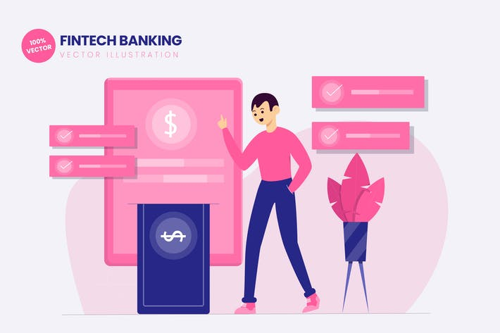 Fintech Banking Flat Vector Illustration