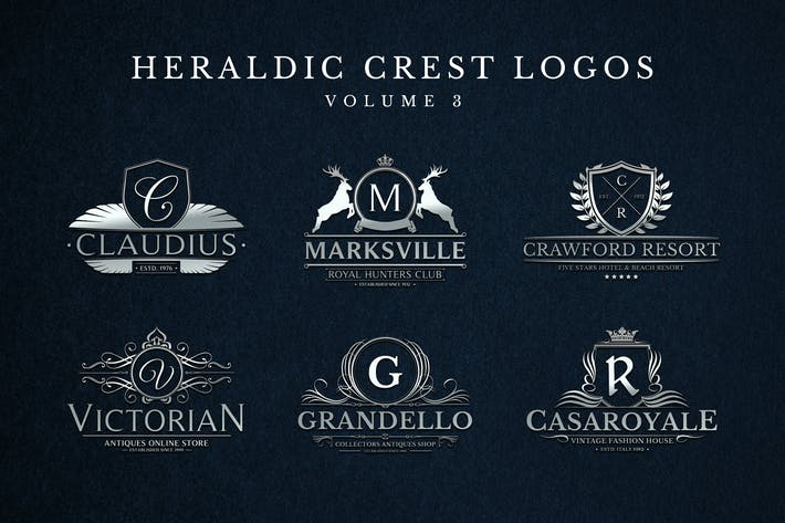 Thumbnail for Heraldic Crest Logos Set 3