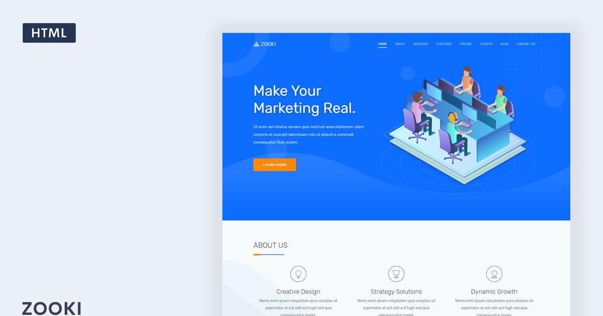 Download Zooki - Landing Page Template by Themesbrand