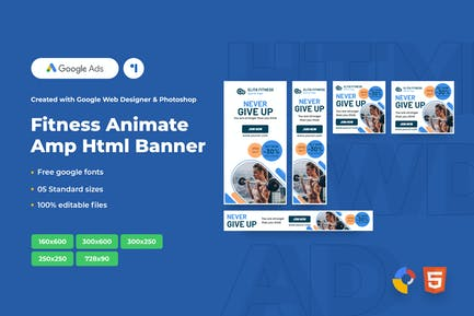 Fitness Animate Ads Template AMP HTML Banners