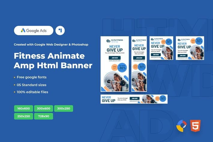 Thumbnail for Fitness Animate Ads Template AMP HTML Banners