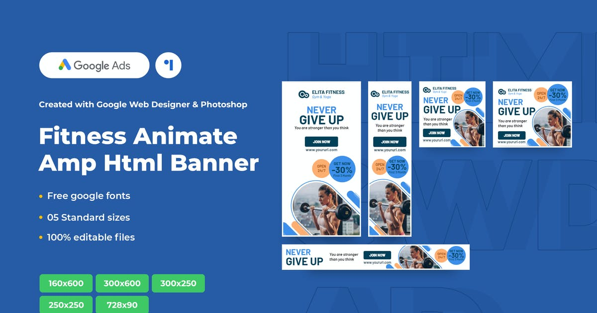 Download Fitness Animate Ads Template AMP HTML Banners by 1protheme