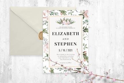 Modèle d'invitation de mariage floral rustique