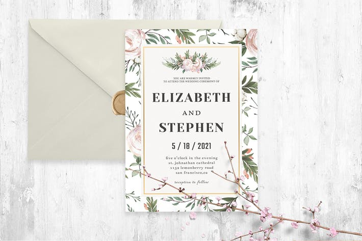 Thumbnail for Rustic Floral Wedding Invitation Template