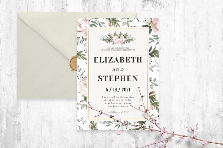 Rustic Floral Wedding Invitation Template