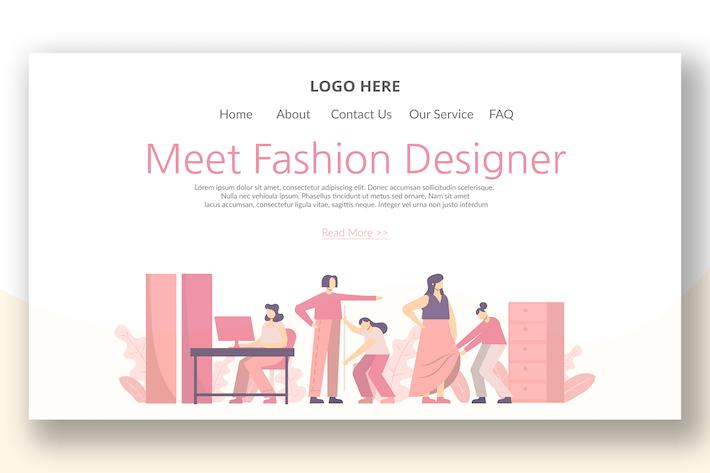 Thumbnail for Fashion Designer - Landing Page