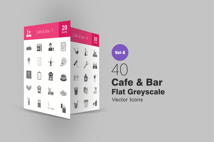 Thumbnail for 40 Cafe & Bar Flat Greyscale Icons