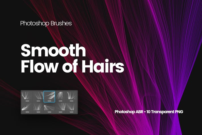 Thumbnail for Digital Smooth Flow of Hairs Photoshop Brushes