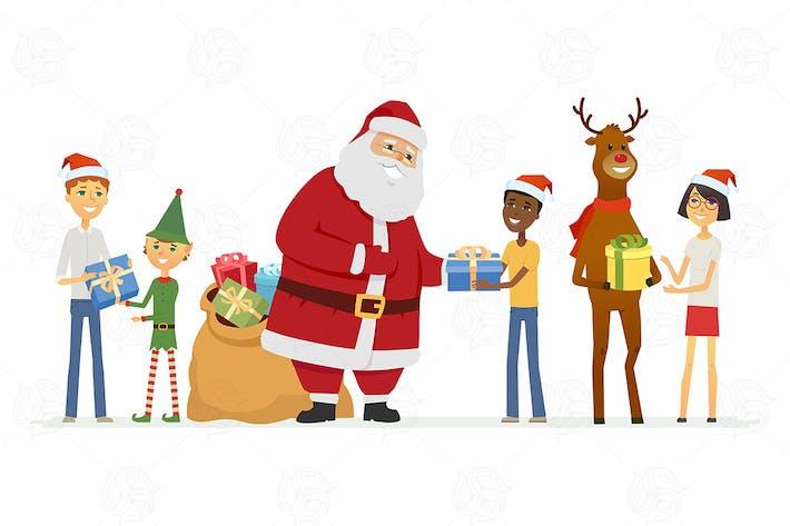 Thumbnail for Santa Claus, reindeer and children - illustration