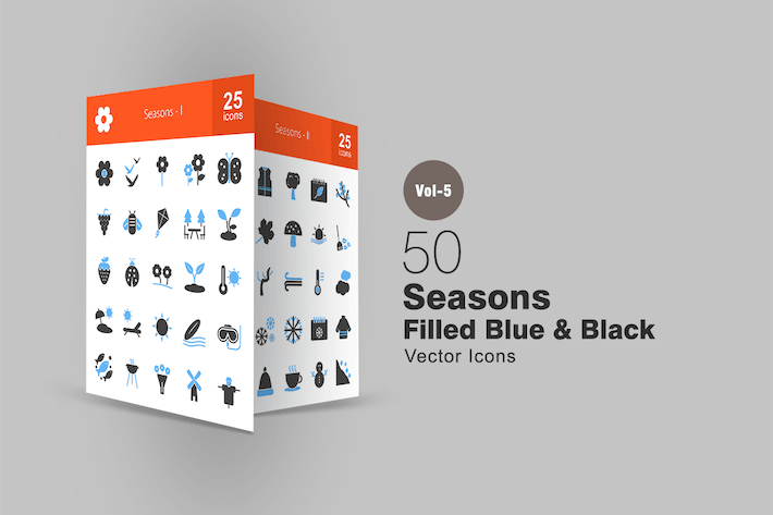 Thumbnail for 50 Seasons Blue & Black Icons