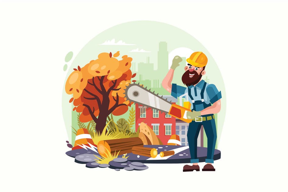 Download Lumberjack Holding Chainsaw Vector Illustration by IanMikraz