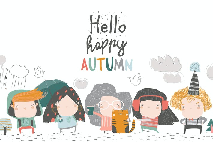 Thumbnail for Cute children meeting autumn wearing warm clothes.