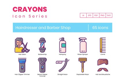 70 Hairdresser and Barber Shop Icons - Crayons