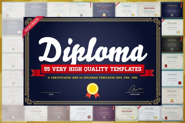 Thumbnail for Awesome 55 Diploma & Certificate Templates