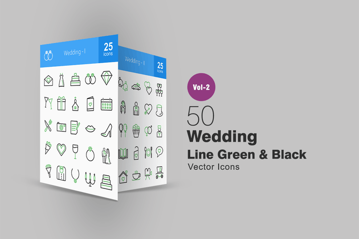Thumbnail for 50 Wedding Line Green & Black Icons