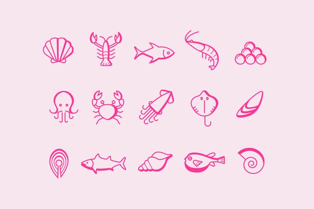 15 Seafood Icons