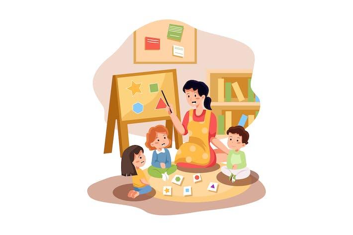 Playschool Teacher Teaching To Kids