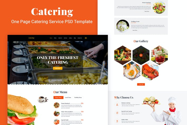 Thumbnail for Catering - One Page Catering Service PSD Template