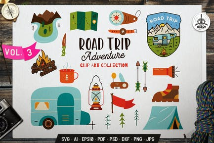 Road Trip Clip Art Collection. Hiking Icons Set
