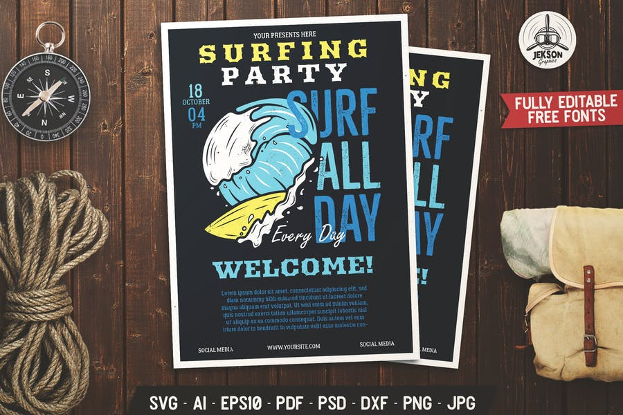 Surfing Party Flyer SVG