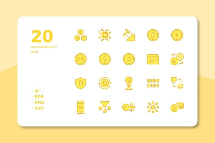 Thumbnail for 20 Cryptocurrency Icons (Lineal Color)