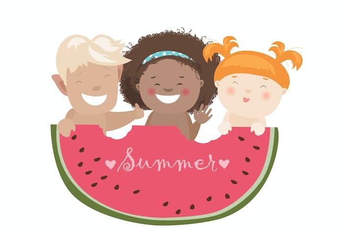 Funny children eating watermelon. Vector