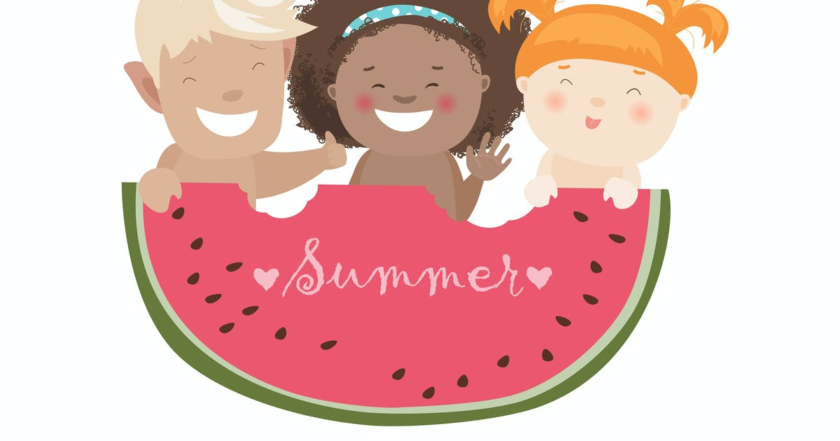 Funny children eating watermelon. Vector by masastarus