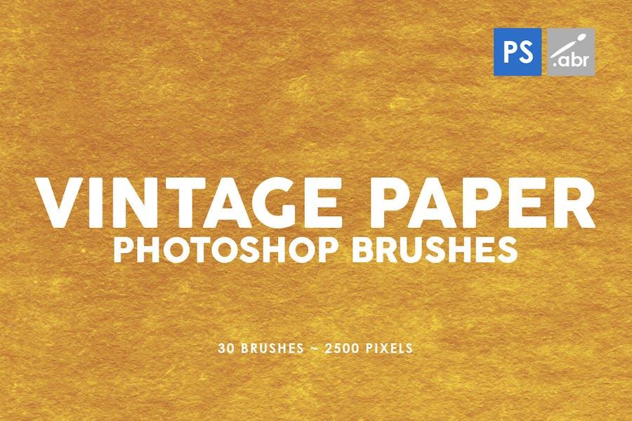 30 Vintage Paper Photoshop Stamp Brushes Vol.3