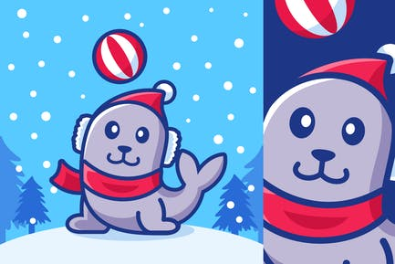 Cartoon Seals Playing in Winter Season