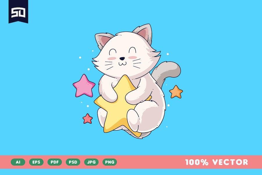 Design d'illustration de chat mignon