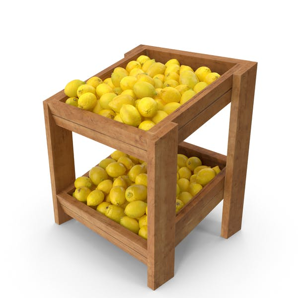 Wooden Merchandise Shelf With Lemons